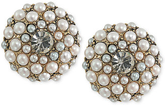 Carolee 14k Antique Gold-Tone Imitation Pearl Button Clip-On Earrings