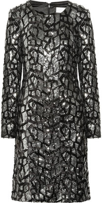 Mikael Aghal Sequined satin dress