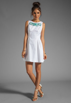 Shoshanna Beaded Freyja Dress in White/Turquoise