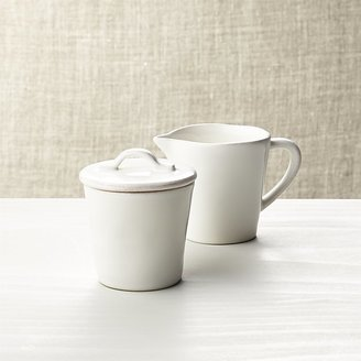 Crate & Barrel Marin White Sugar Bowl with Lid and Creamer