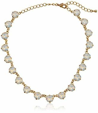 Oroclone Crystal Luxe Emerald Cut Swarovski White Opal Necklace $260 thestylecure.com