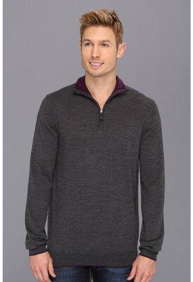 Report Collection 1/4 Merino Sweater (09 Black) - Apparel