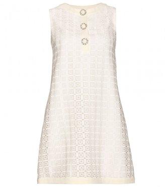 Miu Miu SHIFT DRESS WITH MACRAMÉ APPLIQUÉ