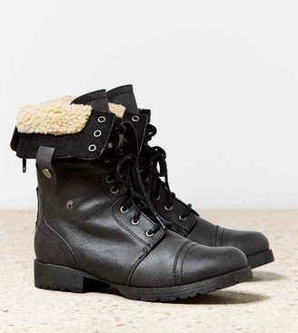 American Eagle AEO Faux Sherpa Lace-Up Boot