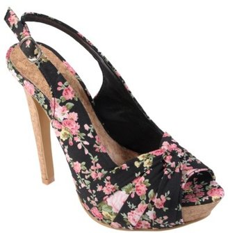 Hailey Jeans Co. Womens Floral Peep Toe Slingback Pumps