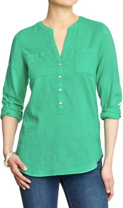 Old Navy Women's Split-Neck Linen-Blend Shirts