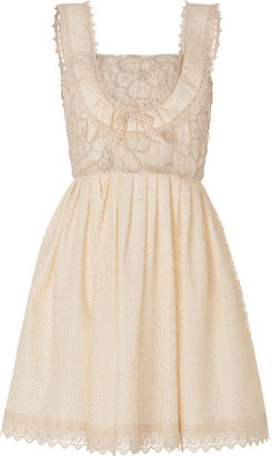 Anna Sui Mixed Lace Dress in Cream