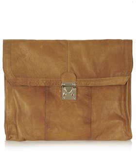 Topshop Premium Leather Laptop Clutch