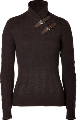 Ralph Lauren Black Chocolate Cashmere Cable Knit Mock Neck Pullover