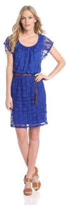 Amy Byer Women's Lace Dress with Butterfly Sleeves
