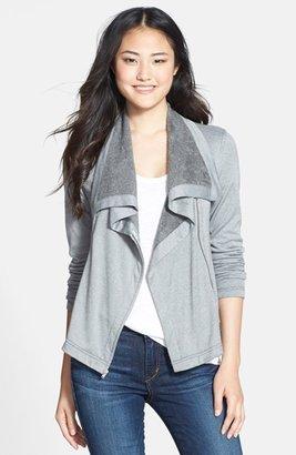 Three Dots Fleece Knit Moto Jacket