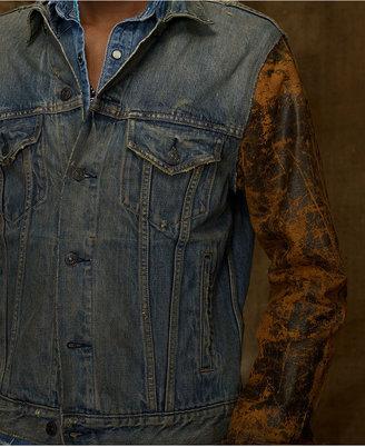 Denim & Supply Ralph Lauren Jacket, Contrast Faux Leather Sleeve Jacket