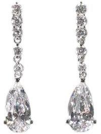 Crislu Cubic Zirconia Large Pear Drop Earrings