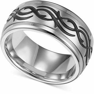 Triton Men Stainless Steel Ring, Black Design Wedding Band