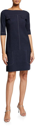 Chiara Boni Publia Elbow-Sleeve Shift Dress