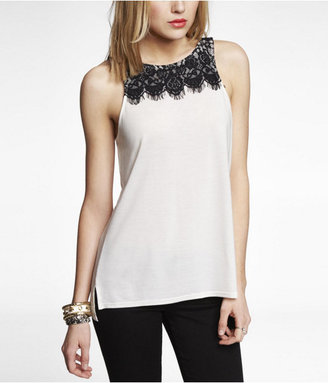 Express High Cut Lace Trim Tank