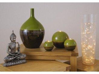 Green Tribal Stripe Vase