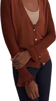 Theory Sheer Long-Sleeve Fine-Gauge Knit Cardigan