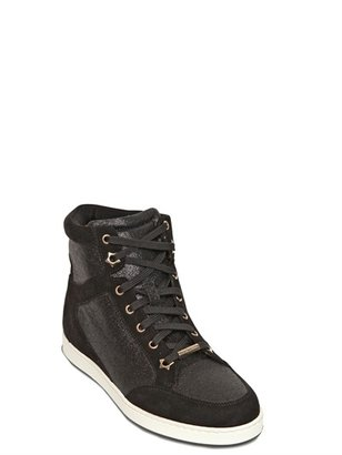 Jimmy Choo 20mm Tokyo Glitter And Suede Sneakers
