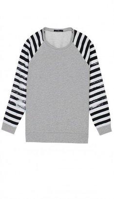 Tibi Distressed Stripe Sweatshirt