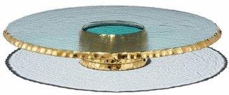 Annieglass Edgey Platinum Pedestal Cake Plate