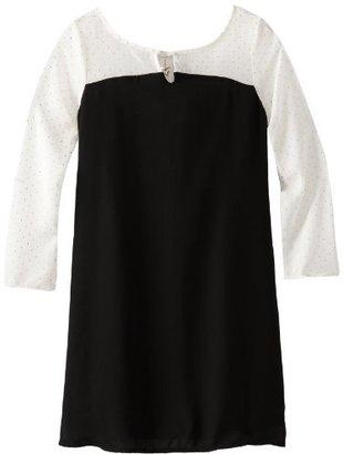 My Michelle Girls 7-16 Long Sleeve Chiffon To Ponte Sheath Dress