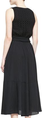 Catherine Malandrino Giada Silk Embroidered-Overlay Sleeveless Dress