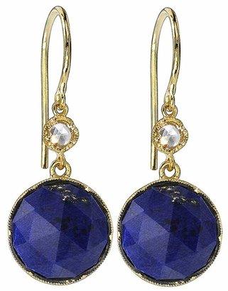Irene Neuwirth Round Rose Cut Lapis And Diamond Earrings