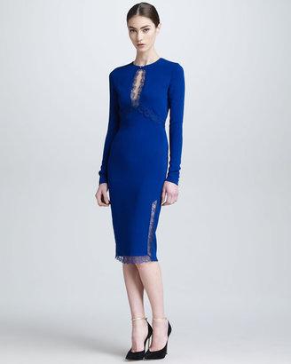 Roberto Cavalli Lace Keyhole Long-Sleeve Dress