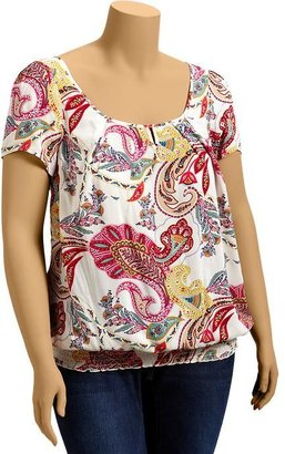 Old Navy Women's Plus Printed Pleated-Smocked Tops