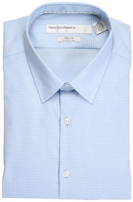 Perry Ellis City Fit L/S Micro Grid Dress Shirt (Powder Blue) - Apparel