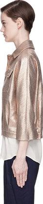 Veronique Branquinho Metallic Copper Silk Cropped Jacket