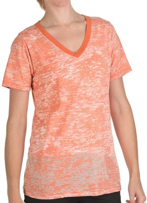 True Grit Slub Cotton Burnout Loose T-Shirt - V-Neck, Short Sleeve (For Women)