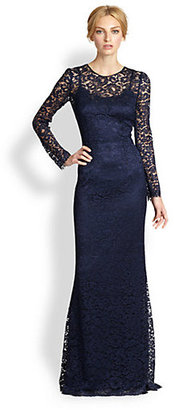 Dolce & Gabbana Long-Sleeve Lace Gown