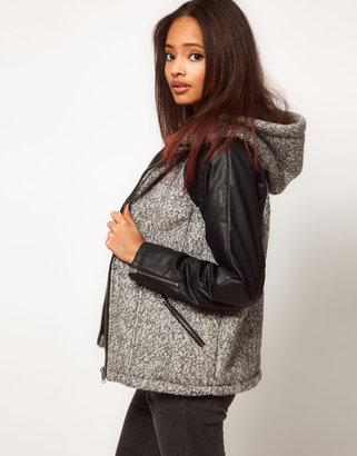 Asos Mixed Fabric Hooded Jacket