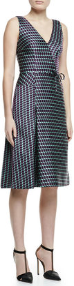 Carolina Herrera Sleeveless Geometric Cube Jacquard Dress, Purple/Green