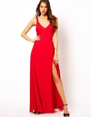 Lipsy Bandage Maxi Dress with Plunge Neck - Red