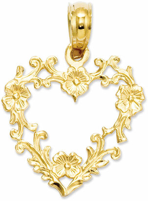 Macy's 14k Gold Charm, Floral Cut-Out Heart Charm