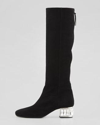 Miu Miu Jewel-Heel Suede Knee Boot, Black