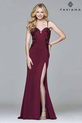 Faviana s8004 Long neoprene dress with applique