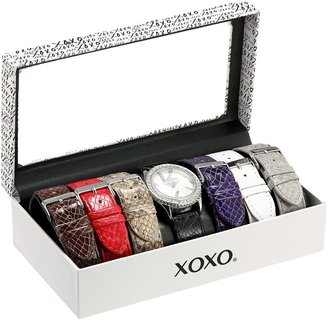 XOXO Women's XO9042 Seven Color Snake-Embossed Interchangeable Strap Set Watch