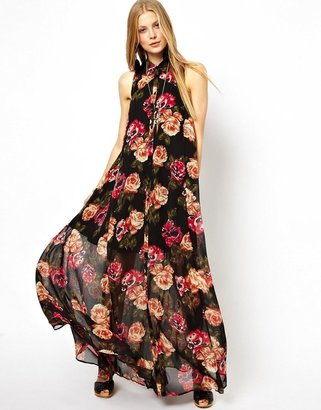 Asos Maxi Dress With Halter In Floral
