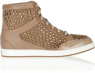 Jimmy Choo Tokyo crystal-embellished suede, leather and patent sneakers