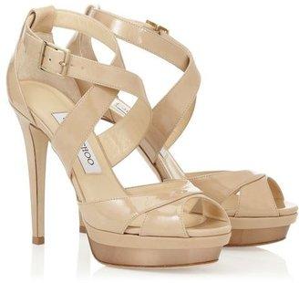 Jimmy Choo Kuki Patent Leather Peep Toe Platform Sandals