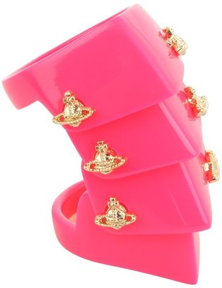 Vivienne Westwood Resin Armour Ring (Neon Red/Gold) - Jewelry
