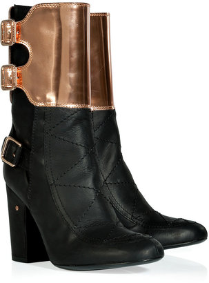 Laurence Dacade Black and Bronze Buckled Half Boots