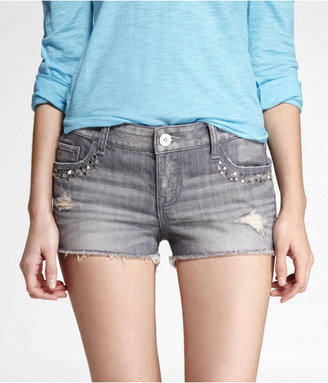 Express 2 Inch Embellished Destroyed Cutoff Denim Shorts
