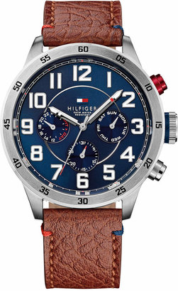 Tommy Hilfiger Men's Brown Leather Strap Watch 46mm 1791066 $165 thestylecure.com