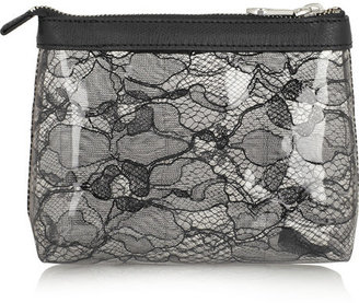Marc by Marc Jacobs Leather-trimmed PVC and lace cosmetics case
