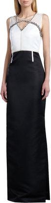 St. John Duchesse Beaded-Neck Gown, Cream/Caviar